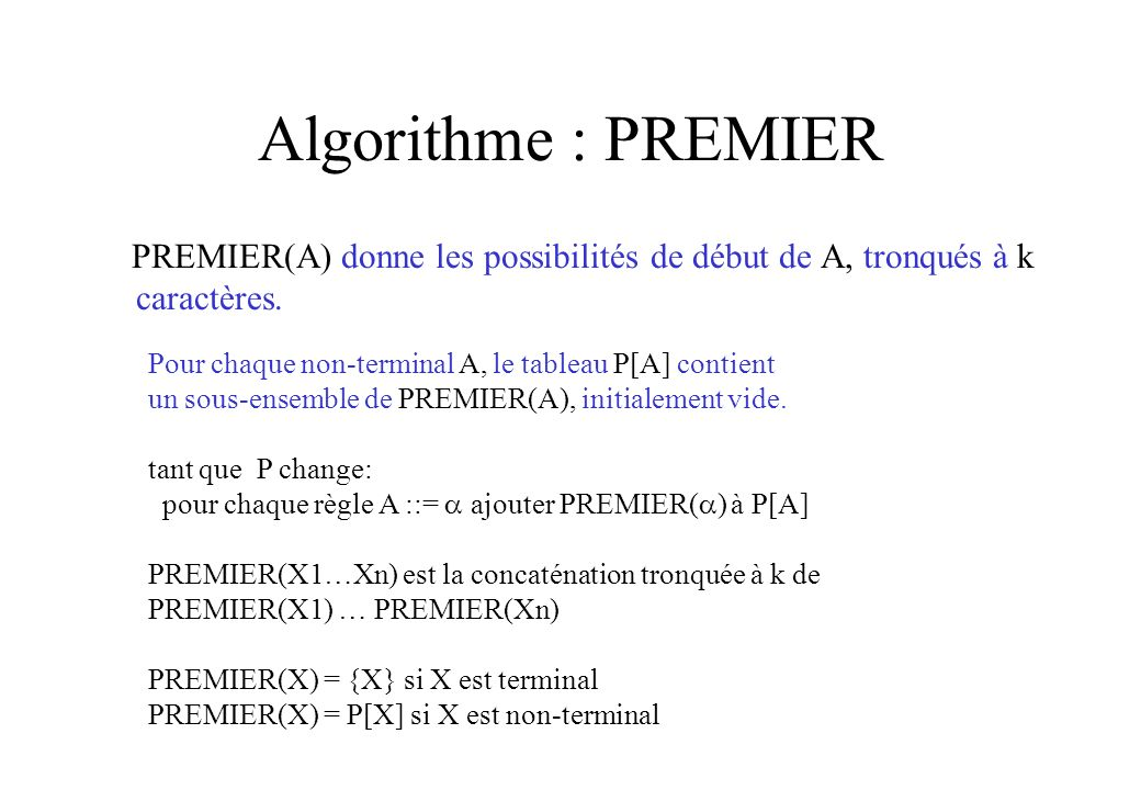 Algorithme : PREMIER PREMIER(A) donne les possibilités de début de A, tronqués à k caractères. Pour chaque non-terminal A, le tableau P[A] contient.